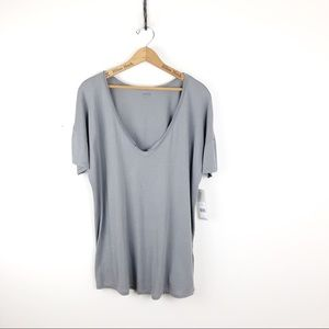 NYDJ Gray V-Neck Summer Short Sleeve Tee Large